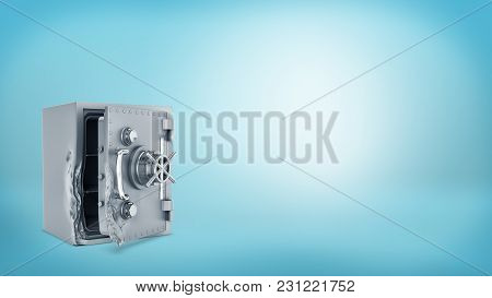3d Rendering Of A Vintage Steel Safe Box With A Rotary Handle Stands Open And Damaged After Breaking
