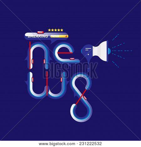 Breaking News, Original Sign And Loudspeaker On Blue Background. Flat Vector Illustration Eps10