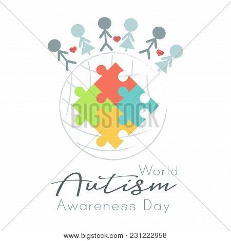 Puzzle World And People, World Autism Awareness Day