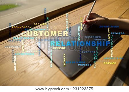 Customer Relationship Management Concept On The Virtual Screen. Words Cloud