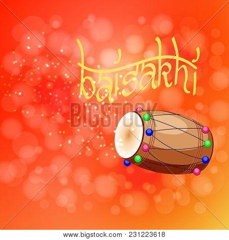 Celebration Holiday Baisakhi. New Year Of The Sikhs. Drum, Dholak, Devanagari. On A Red-orange Backg
