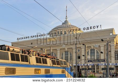Odessa, Ukraine - June 29, 2009: Facade Of The Main Railway Station, Located In The Center Of The Ci