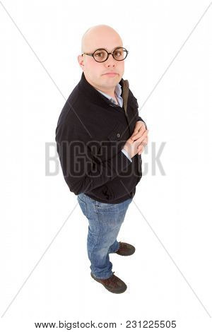 silly casual man full body, isolated