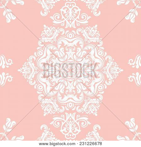Orient Vector Classic Pattern. Seamless Abstract Background With Vintage White Elements. Orient Back
