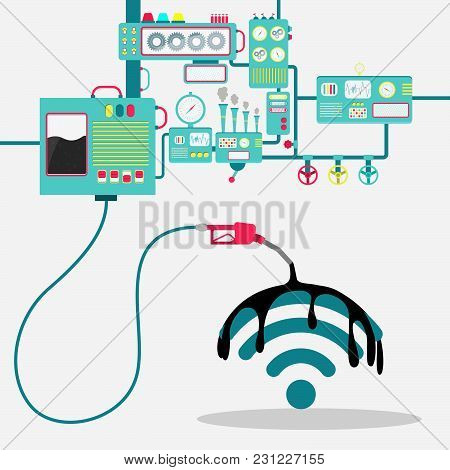 Machinery Of Factory Refining Oil And Spilling Oil On The Wifi Sign. Oil Industry. Conceptual.