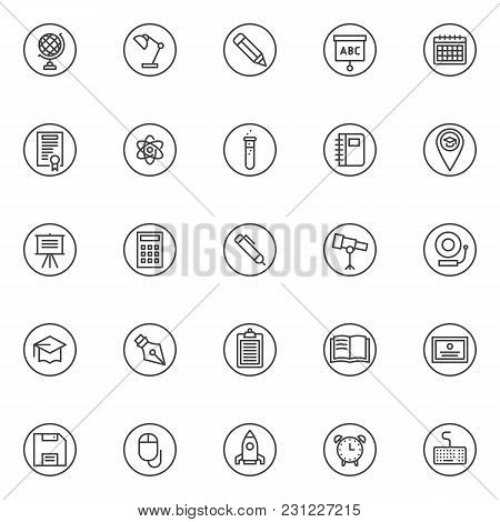 Education And Knowledge Outline Icons Set. Linear Style Symbols Collection, Line Signs Pack. Vector