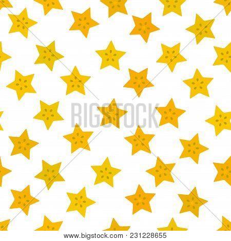 Carambola Simple Seamless Pattern Yellow Orange Claret Slice Fruit On On White Background. Vector Il