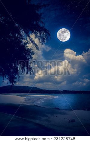 Beautiful Landscape View On Seascape To Night. Attractive Many Stars And Bright Full Moon On Dark Bl