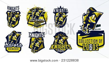A Set Of Logos, Emblems, Stickers, Badges Of A Knight Galloping On A Horse. Warrior In Iron Armor, S