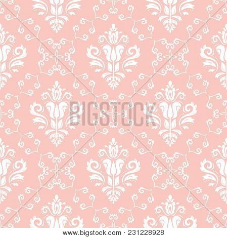 Classic Seamless Vector Pattern. Damask Orient Ornament. Classic Vintage Light Pink And White Backgr