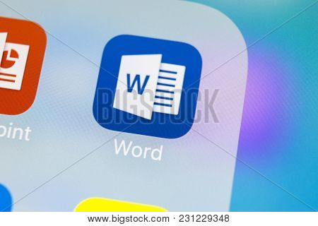 Sankt-petersburg, Russia, Macrh 14, 2018: Microsoft Word Application Icon On Apple Iphone X Screen C