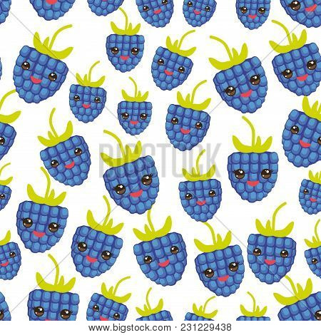 Seamless Pattern Blackberry Fresh Juicy Berries Kawaii Funny Face With Eyes Isolated White Backgroun