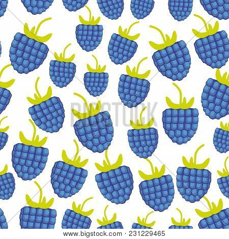 Seamless Pattern Blackberry Fresh Juicy Berries Isolated White Background. Vector Illustration