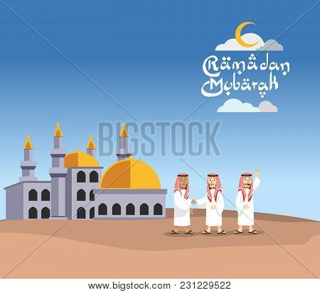 Vector Illustration Of Arabian Men Shaking Hand In Front Of Mosque, Suitable For Ramadan Greeting.