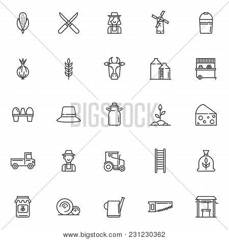 Agriculture Outline Icons Set. Linear Style Symbols Collection, Line Signs Pack. Vector Graphics. Se