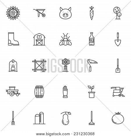 Agriculture Elements Outline Icons Set. Linear Style Symbols Collection, Line Signs Pack. Vector Gra