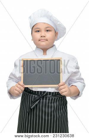 Boy Chef In Uniform Cook Holding Blackboard