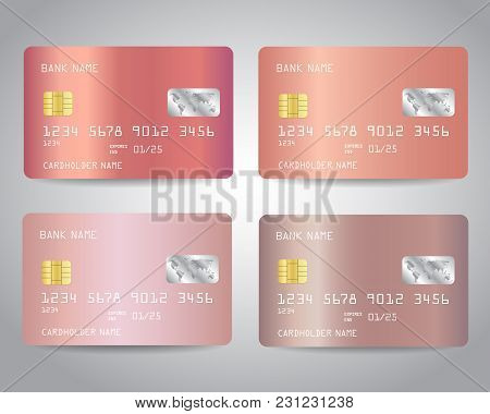 Realistic Detailed Credit Cards Set With Rose Gold Abstract Pink Metallic Gradinet Design Background