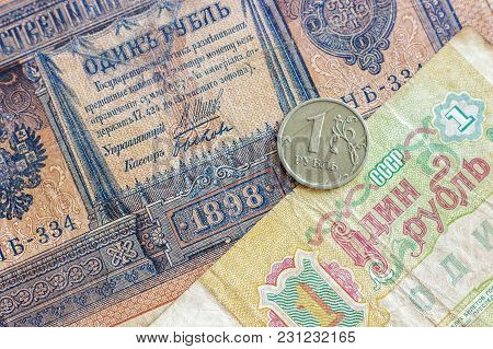 Comparison Of Russian Money Denominated In 1 (one) Ruble. Period Of The Russian Empire, The Ussr (fo
