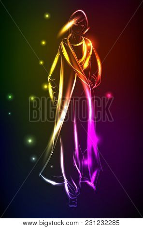 Hand-drawn Fashion Model From A Neon. A Light Girl's. Fashion Illustration.