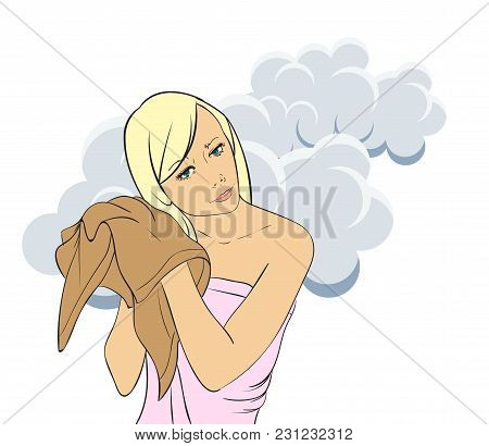 Beautiful Young Girl Wiping Her Hair. Hair Care. Vector Illustration.