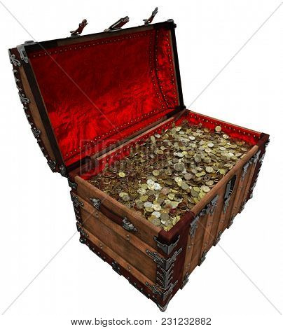 Shiny gold pirate treasure rich chest 3D illustration
