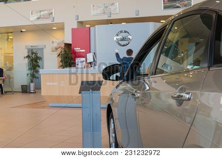 Kazan, Russia - October 19, 2017: Car In The Showroom Of Dealership Nissan In Kazan City