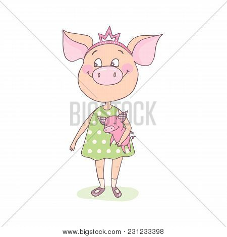 A Sweet, Happy Little Pig Is Standing With A Toy In Her Hands. A Crown Is On His Head. Funny Illustr