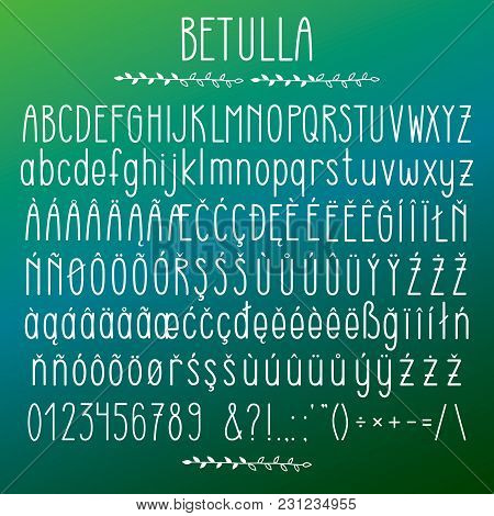 Betulla - Modern Rounded Grotesque Font. Minimalistic White Typeface. Alphabet Character Set, Upperc