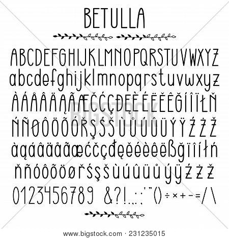 Betulla - Modern Rounded Grotesque Font. Minimalistic Typeface. Alphabet Character Set, Uppercase An