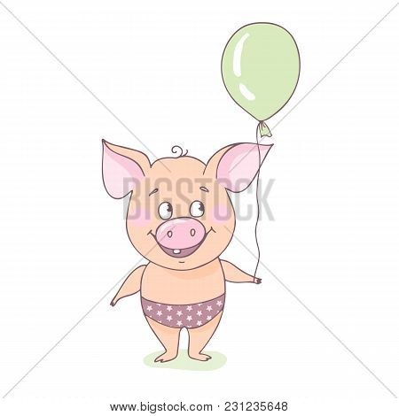 A Sweet, Happy Little Pig Is Standing With A Balloon In His Hands. Funny Illustration In Cartoon Sty