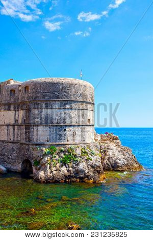 The main tower of the city walls of Dubrovnik, Croatia