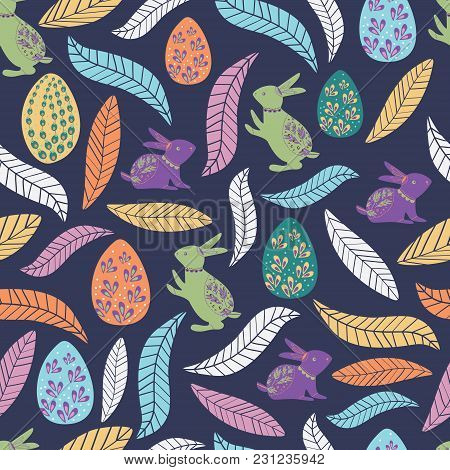 Colorful Easter Pattern With Rabbit, Egg, And Leaves For Kids. Cute And Bright Pattern For Brand Who