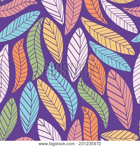 Colorful Leaves Pattern. Cute And Bright Pattern For Brand Who Has Fun And Happy Style. Repeated Pat