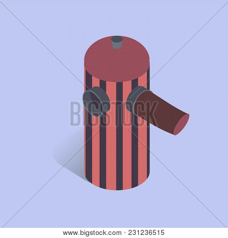 Vector Illustration With 3d Coffee Cafetiere French Press. Coffee Maker In Isometric Flat Style On B