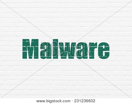 Privacy Concept: Painted Green Text Malware On White Brick Wall Background