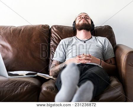 Music relaxing on sofa