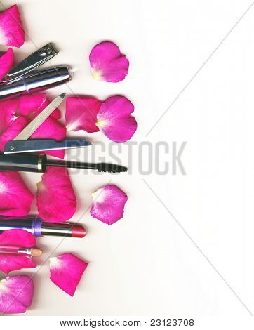 makeup brush and cosmetics with rose petals, on a white background isolated