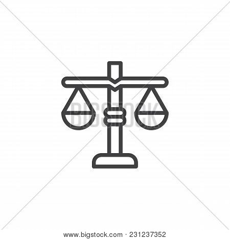 Libra Scales Outline Icon. Linear Style Sign For Mobile Concept And Web Design. Weight Justice Simpl