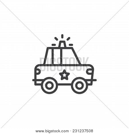 Police Car Outline Icon. Linear Style Sign For Mobile Concept And Web Design. Sheriff Car With Polic