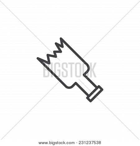 Broken Bottle Outline Icon. Linear Style Sign For Mobile Concept And Web Design. Broken Glass Simple