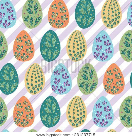 Colorful Easter Egg Pattern. Cute And Bright Pattern For Brand Who Has Fun And Happy Style. Repeated