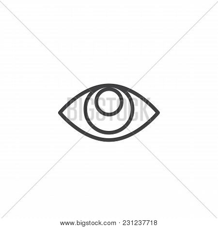 Human Eye Outline Icon. Linear Style Sign For Mobile Concept And Web Design. Vision Simple Line Vect