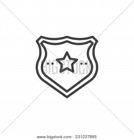 Police Badge Outline Icon. Linear Style Sign For Mobile Concept And Web Design. Sheriff Badge With S