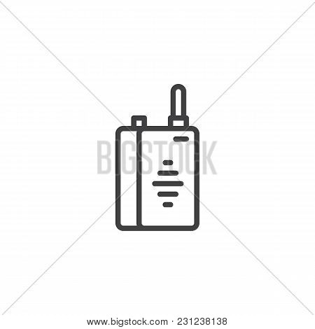 Walkie Talkie Outline Icon. Linear Style Sign For Mobile Concept And Web Design. Radio Portable Tran