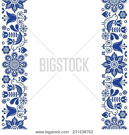 Scandinavian Greeting Card Design, Folk Art Retro Vector Design, Ornament With Birds And Flowers In