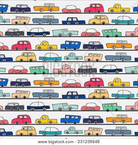 Pattern With Hand Drawn Doodle Cars Background. Vector Illustration.