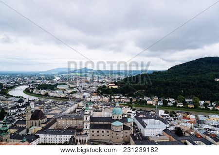 Cityscape Of Salzburg From Hohensalzburg Fortress A Cloudy Day