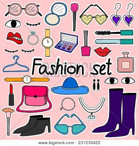 Hand Drawn Doodle Sticker Vector Fashion Set.