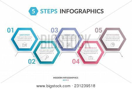 Infographic Template With 5 Hexagons With Line Icons, Process Chart, Creative Business Infographics,